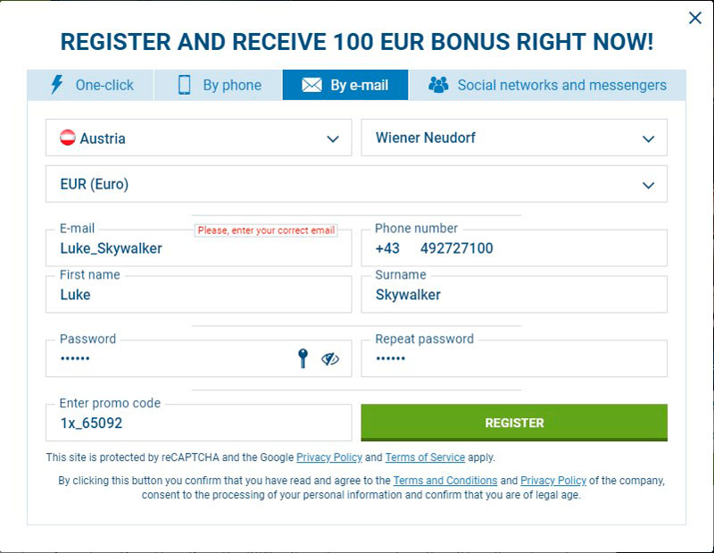 1xbet registration by e-mail